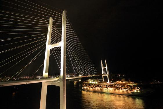 Megami Ohashi Bridge (lighting-up) & Cruise Ship 1