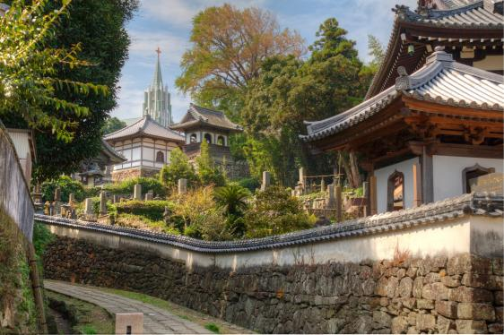 View of a Christian Church and Japanese Temples 1