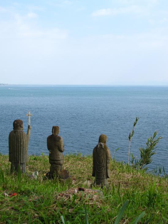 Hara Castle Ruins - Three Statues 2